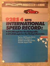1987 Porsche 928S4 Coupe Speed Record Showroom Advertising Poster RARE!! Awesome