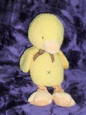 Carters Yellow Chick Duck Orange Legs Bean Bag Plush Quacks Baby Toy Brown Bow