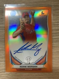 Adam Morgan 2014 Bowman Chrome Orange Refractor Rookie Autograph #d 11/25 1st