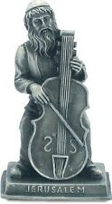 JUDAICA PEWTER PLATED HASID CHASSID FIGURINE PLAYING A CELLO FROM JERUSALEM