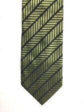 Stanley Blacker Mens Tie Green Black Striped 100% Silk 3.75 x 57.5 Made in Italy