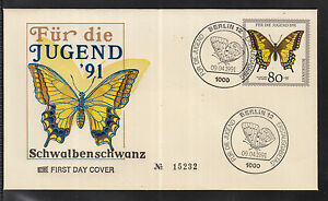 W 05 ) Germany Beautiful FDC 1991 - Butterfly: Swallowtail