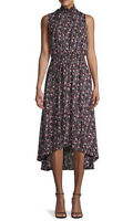 NWT Women's Nanette Lepore Black Floral Smocked Blouson Midi Dress Sz 6