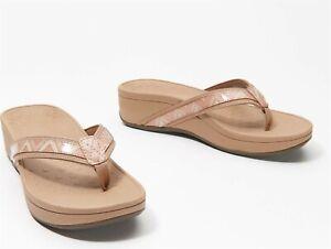 Vionic Platform Leather Thong Sandals High Tide Chevron Dusty Pink 7M NEW A37524
