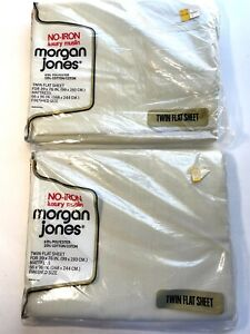 Vintage 1979 NOS TWO Morgan Jones TWIN FLAT Sheet Lot No-Iron Luxury Muslin