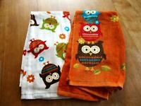 2 Essential Home Cotton Kitchen Tea Towels Owls Leaves Fall (0013)