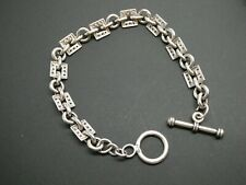 "Vintage Sterling Silver Cubic Zirconia Square Linked Bracelet Toggle Size 7.5"""