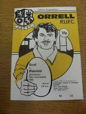 Programma di rugby 15/12/1984: orrell V Wakefield (Team modifiche). piedini progs