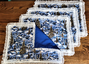 """*NEW* Hand Sewn Christmas Village Winter Snow Scene Placemats-4 w/lace 18"""" X 13"""""""