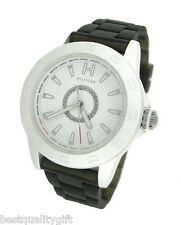 NEW TOMMY HILFIGER BLACK TRANSLUSCENT SILICON BAND+WHITE DIAL WATCH #1781101