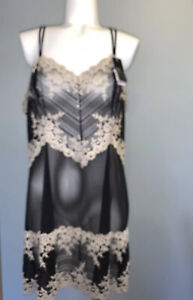 Wacoal Embrace Lace Chemise Nightgown Size 2X In (Black/Ivory) Msrp $62.