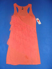 """LOVE ROCKS"" Junior's/Women's $40 NEW! UNIQUE! Large Orange Ruffle Dress BEALL'S"