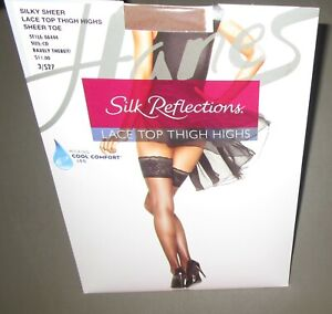 HANES~Size CD~OA444~Barely There Silky Sheer Lace Top Thigh Highs