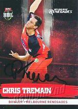 ✺Signed✺ 2016 2017 MELBOURNE RENEGADES Cricket Card CHRIS TREMAIN Big Bash