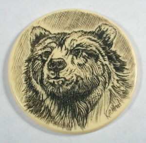 """Artisan Scrimshaw Button Etched & Inked Grizzly Bear Image - 1 & 1/2"""""""""""