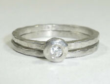 Silpada Sterling Silver Cubic Zirconia Stack Ring Set Size 7 .925 CZ R1659