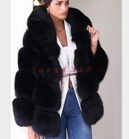 Vogue Women Faux Fox Fur Coat Hooded Thick Fur Short Winter Warm Jacket Outdoor