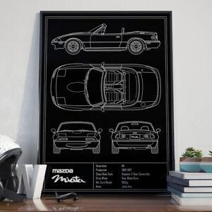 Mazda Miata MX5 NA Blueprint Art Poster 17x24 inch size