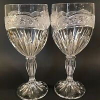 ONEIDA SOUTHERN GARDEN CRYSTAL WATER GOBLETS SET OF 2 FROSTED ROSE BAND 7 1/4""