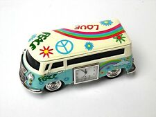 CAMPER VAN GIFT-NOVELTY MINIATURE BLUE HIPPY DESIGN CAMPER VAN CLOCK-in GIFT BOX