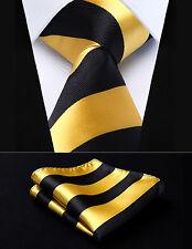 "Yellow Black Stripe 3.4"" Silk Woven Men Tie Necktie Handkerchief Set#TS904Y8S"