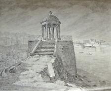 Grand dessin Temple Amour Ile Jatte Neuilly s/seine Robert SANTERNE 1903-1983