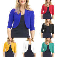 HK- Women Plus Size Fashion Solid Color Open Front 3/4 Sleeve Bolero Shrug Coat