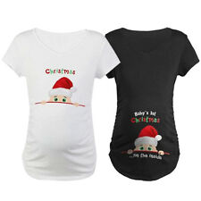 Mom Cute Baby's 1st Christmas On The Inside Maternity Pregnancy T-Shirts Tops