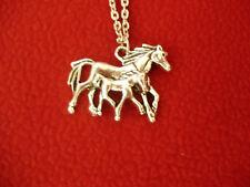 Pferde Anhänger Halskette Kette Pferde Silber Modeschmuck Unisex Vintage
