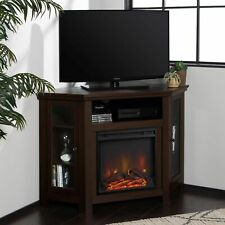 """Modern Corner Electric Fireplace 55"""" Wooden TV Stand Entertainment Media Console"""