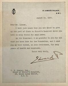 King Edward VIII 1932 Signed Letter Regarding Christ's Hospital