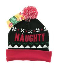 Wembley Mens Black and Red Christmas Naughty or Nice Light Up Beanie One Size