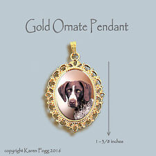 German Shorthair Pointer Dog - Ornate Gold Pendant Necklace
