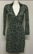 Diane von furstenberg Green/white Silk Vintage Wrap Dress Us 2 Uk 8