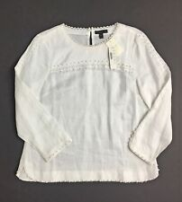 NWT J Crew Petite embroidered linen top Size 8P White SU16 F2656