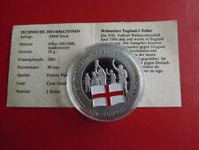 *Cook Island 1 Dollar 2001 Silber PP(500 -ca20g)*Fußball WM/England (Schu50)