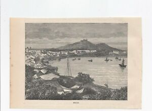 """c1890 Engraved print MACAO Image Size: 5.5"""" x 4.5"""""""