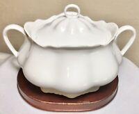 """Vintage Heinrich H&Co Selb Bavaria White Porcelain Handled Lidded Sugar Bowl 8"""""""