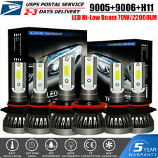 6X Combo MINI 9005 H11 9006 LED Headlight High-Low Beam 70W 22000LM Bulbs 6000K
