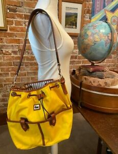 Dooney & Bourke Yellow Camden Nylon Drawstring Bucket Bag New Purse