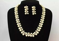 Crystal Diamante Rhinestones White Pearls Flowers Necklace And Earrings Set