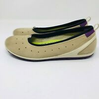 ecco Womens Size 7 Biom Natural Motion Beige Suede Flats