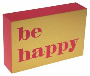 Be Happy Wood Box Sign Pink Gold Macbeth Collection Margaret Josephs Table Decor
