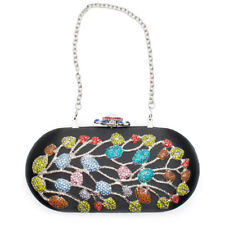 Black Multi Floral Flower Minaudiere Evening Bag Handbag Crystal Evening Bead NW