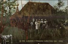 Trinidad - Christmas 1908 Soldiers & Thatch Roof Bldg c1910 Postcard