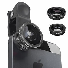 Black Fisheye Wide Angle & Macro Clip Lens Mobile Phone Camera Set Kit