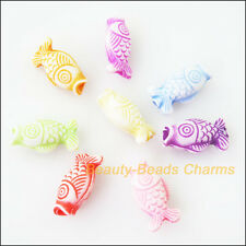 25Pcs Mixed Plastic Acrylic Animal Fish Charms Spacer Beads 9x17mm