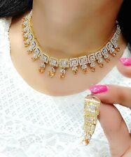 Indian Bollywood Choker Mala Yellow Stone Necklace Goldtone Earring Wedding Gift