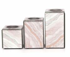 Set Of 3 Marble Style Candle Holders Copper Home Deco Gift Idea