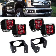 Rigid Radiance + LED Fog Light Kit Red Backlight for 2017 2018 Ford F250 F350